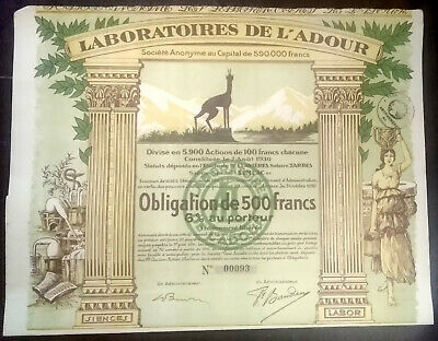 LABORATOIRES DE L'ADOUR, SEMEAC 1930 - OBLIGATION DE 500 FRANCS - Action / Bond
