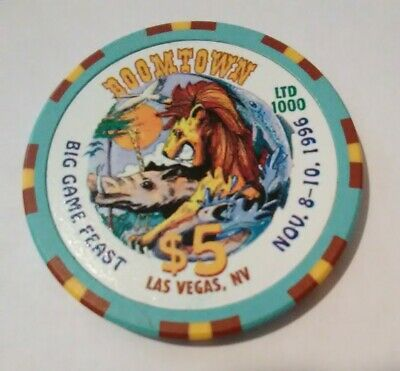1996 Boomtown Hotel Casino Las Vegas, Nevada Big Game Feast $5.00 Lion Chip!