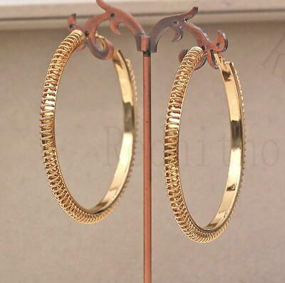 """18K Gold Filled 2.8"""" Earring Spring Ring Hollow Dangle Circle Hoop Bohemia SW"""