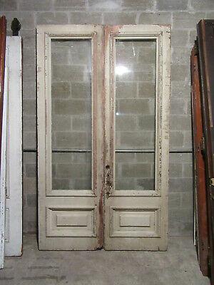 ~ HUGE ANTIQUE DOUBLE ENTRANCE FRENCH DOORS ~ 62 x 106 ~ ARCHITECTURAL SALVAGE