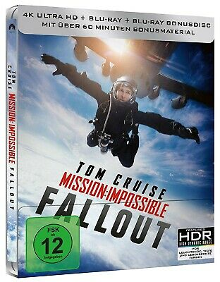 MISSION IMPOSSIBLE: FALLOUT (Tom Cruise) 4K Ultra HD + 2Blu-ray Discs, Steelbook
