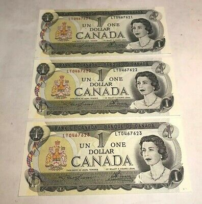 Three Consecutive Uncirculated 1973 Bank Of Canada $1 One Dollar Notes