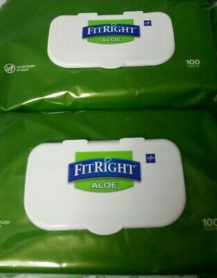 2x 100 Packs FitRight Aloe MEDLINE Personal Cleansing Cloths 200 FIT RIGHT Wipes