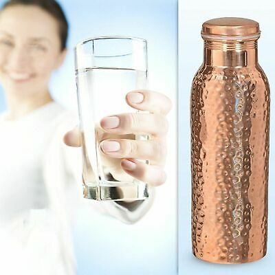 Indian Hammered Copper Water Bottle for Yoga / Ayurveda Health Benefits 950 ml