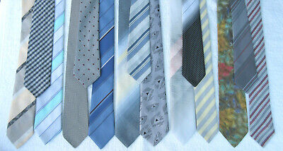 WHOLESALE JOB LOT BULK 15  MIXED vintage light  3 - 3.5 INCH NECKTIES