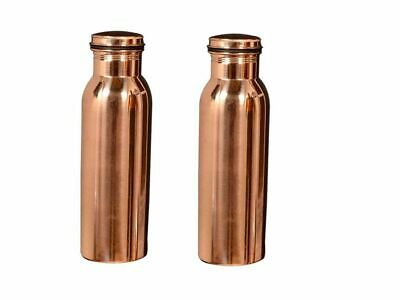 2 Pcs Jointless Copper Water Bottle for Yoga / Ayurveda Health Benefits 600 ml