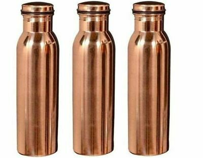 Set of 3 - Copper Water Bottle for Yoga Ayurveda Health Benefits India 900 ML