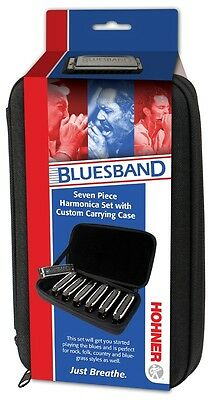 Hohner Blues Band 7-Piece Harmonica Set with Carrying Case, Brand New In Box