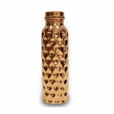 Pure Copper Diamond Hammered Bottle 950ml for Yoga Ayurveda Health Benefits