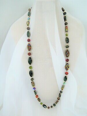 36 inch VINTAGE ART DECO VENETIAN MOSAIC ART GLASS & CRYSTAL CHAIN LINK NECKLACE