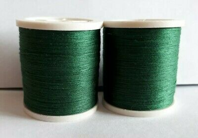 New Quality 2 x 100m Dark Green Large Reels Sewing Cotton Thread Hand/Machines.