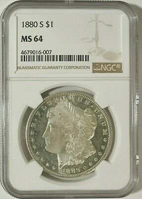 1880-S Morgan Dollar NGC MS64 w/ DMPL Obv., Near-Immaculate Cheek, Should be PL