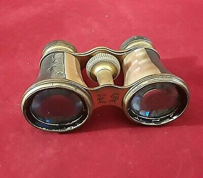 Antique French Victorian Opera Glasses Mother Of Pearl Brass ENGRAVED E.S. MOP
