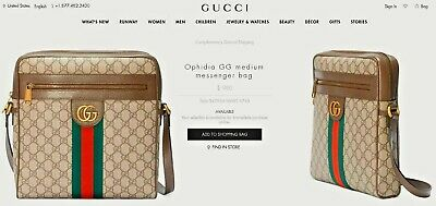 965bddfd2 Gucci GG Ophidia Supreme Logo Medium Messenger Shoulder Travel Bag