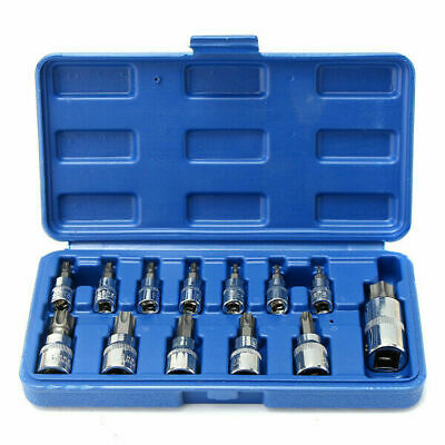 "13pcs Tamper Proof Torx Star Bit Socket Set 1/4, 3/8, and 1/2"" Drive With Case"