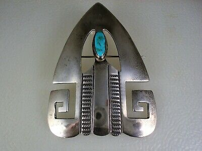 OLD Art Deco NAVAJO STAMPED STERLING SILVER & BLUE GEM TURQUOISE PIN PENDANT