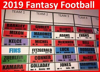 2019 Fantasy Football Draft Kit Large COLOR Player Labels Large Board Rookies