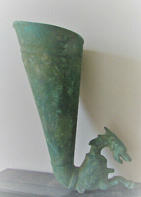 Circa 4Th Century Bc Ancient Persian Bronze Rhyton With Beast Head