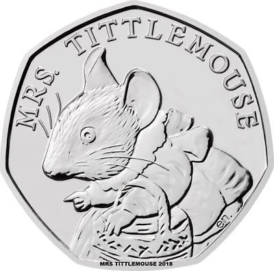 NEW 2018  MRS TITTLEMOUSE 50p FIFTY PENCE COIN  FROM ROYAL MINT BU UNCIRCULATED