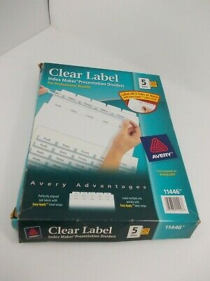 AVERY CLEAR LABEL Index Maker Dividers with Tabs- 8 Tabs & 5