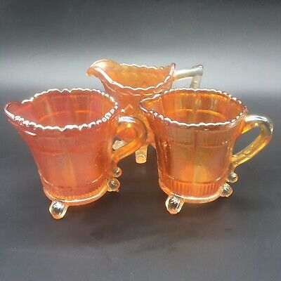 Vintage Carnival Glass Creamers Milk Jugs X3 Marigold Sowerbys