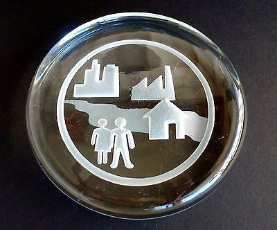"Vintage Signed Art Glass Paperweight INTAGLIO VILLAGE SCENE  Hand Blown 5"" DISC"
