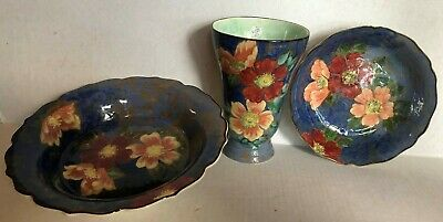3 Pcs Royal Doulton England Hand Painted Wild Rose 2 Bowls & Trumpet Vase