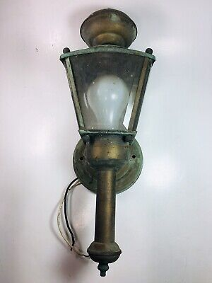 Old Brass Garden Wall Sconce Beveled Glass Panels Antique Patina