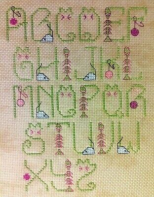 """Cat Alphabet - 7"""" x 10"""" Finished, Completed, Cross Stitch Piece"""