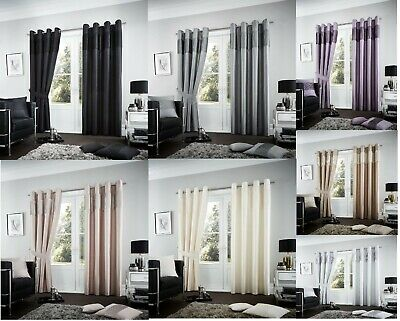 Luxury Fuel Faux Silk Curtain Fully Lined Eyelet Ring Top Pair of Curtains