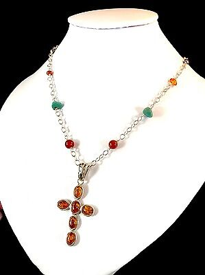 Gorgeous Barse 925 Sterling Chain Necklace Turquoise Stone Amber Cross Pendant