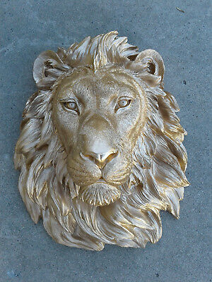 New Large Gold Safari Lion Head Wall Mount Statue Decoration