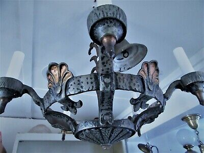 Antique Light Farm Light Hanging Fixture Rewired New Sockets Cast Iron