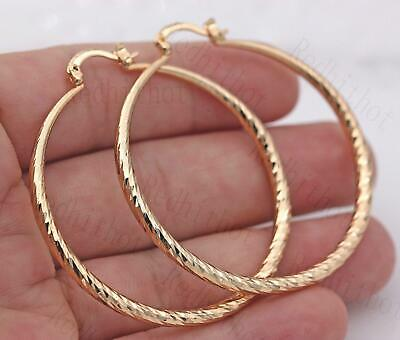 18K Gold Filled Geometry Concave-conve Oversize Dangle Women Cocktail Hoop BR