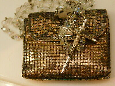 Vintage Whiting Davis Clear Crystal Rosary Beads Aluminum Mesh Bag