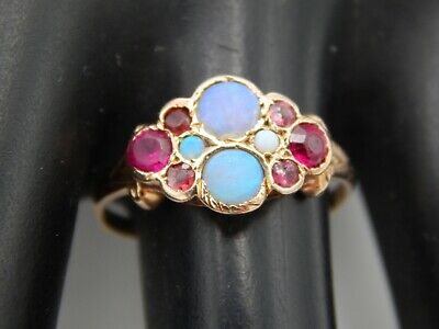 Handmade .30 tcw Welo Art Deco Opal & Synthetic Ruby Ring 14k Yellow Gold Estate