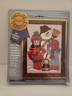 Bucilla Picture Perfect Cross Stitch Kit Winters Children 5X7 Handy Pack #2001