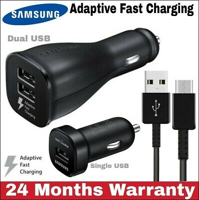 SAMSUNG GENUINE DUAL USB FAST CAR CHARGER Type C CABLE S8 S9, S10 Plus (Type_C)