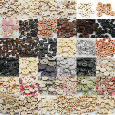DIY Mixed Wood Shape Handmade 2/4 Holes Wooden Buttons Sewing Scrapbooking Lots