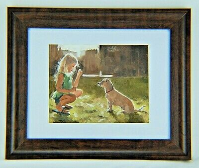 """A Girl and Her Dog"" -Original Canvas Art -Signed Oil Panting by James Coats"