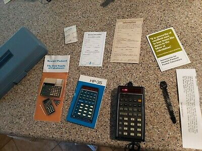 Vintage HP-45 LED Scientific Calculator with Case, Charger, Papers, Manual