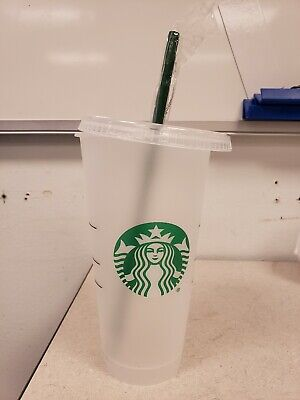 Starbucks Reusable Plastic Venti Cold Cup Clear Frosted 24oz & Straw FREE SHIP