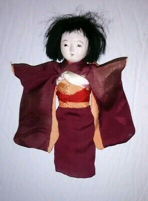 Antique Vintage Japanese Gofun Hina Doll Silk Kimono Glass Eyes Ornament 5.25""
