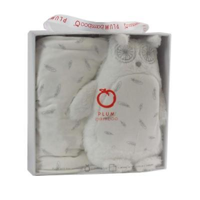 PLUM BAMBOO BABY GIFT SET - JERSEY WRAP & CUDDLY SOFT TOY baby shower owl