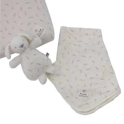PLUM BAMBOO BABY GIFT SET JERSEY WRAP & SOFT TOY& FITTED SHEET baby shower