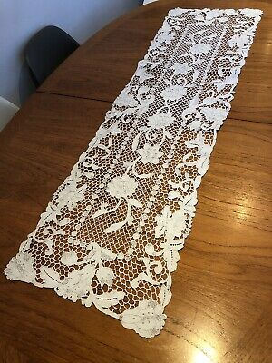 Beautiful Vintage Hand Worked Whitework Crochet Lace Table Runner