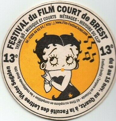 sous bock COREFF - FESTIVAL FILM COURT BREST 1997 - BETTY BOOP coaster beer mat