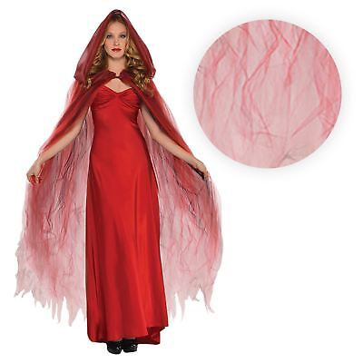 Ladies Red Ghostly Cape Halloween Accessory Devil Vampire Vampiress Ghoul Sexy