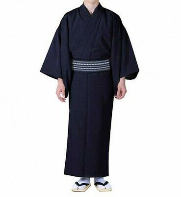 Traditional Japanese Mens Kimono Washable Navy XL Polyester Japan with Tracking