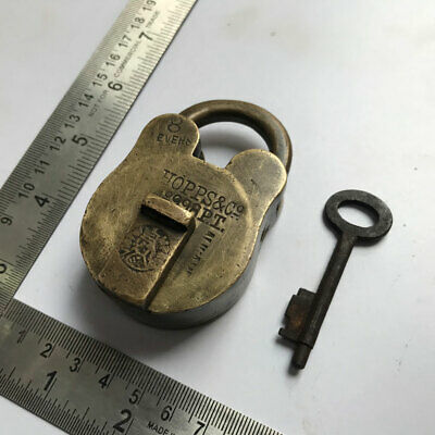 (02). An Old antique solid brass padlock or lock with key small sized.